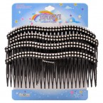 Waved Rhinestone Plastic Combs-Black 4Pcs