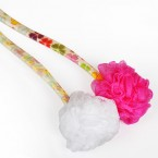 Swissco Bath Mesh Sponge on Floral Plastic Handle for Body