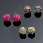 Small Rhinestone Ball Earrings