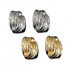 Two Half Rings Twisted Earrings