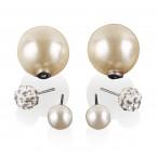 Rhinestone & Pearl Double Ball Earrings
