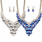 Elegant Oval Rhinestone Necklace and Earrings