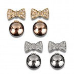 Bow Rhinestone with Round Ball Back Earrings