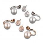 Flower Rhinestone with Pearl Earrings
