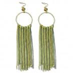 Circular & Chain Fringe Earring-Gold & Hematite Tone