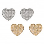 Heart Rhinestone Pave Earrings