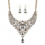 Floral Rhinestone Bib Statement Necklace and Earrings