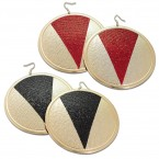 Wide Circle Shield Dangle Earrings