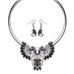 Hematite Statement Collar Necklace and Earrings