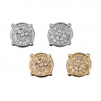 19 Stones Round Pave Earrings