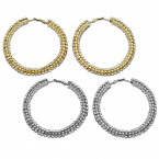 Rhinestone Bejeweled Hoop Earrings